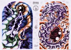 Amazing Bio mechanical #tattoo #flash art