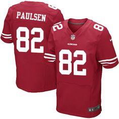eabad55ca Men s Nike San Francisco 49ers  82 Logan Paulsen Elite Red Team Color NFL  Jersey Vontaze