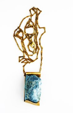 Chrysocolla and brass with brass chain by Nallik