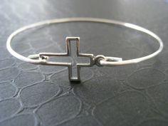 Silver Cross Bangle Silver Jewelry Silver Cross by BanglesbySJ