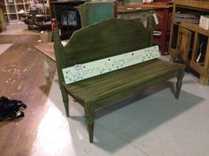 Another fabulous redo! Old headboard into a fabulous new bench with comfy curved seat! By the redneck designers available at the boneyard in Newnan ga