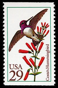 Costa's Hummingbird stamp, issued in 1992.