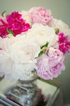 Love Peonies - one of the simplest flowers to arrange - yet full of grace and color. Because the heads are so heavy the vases need to be solid to keep flowers in place.
