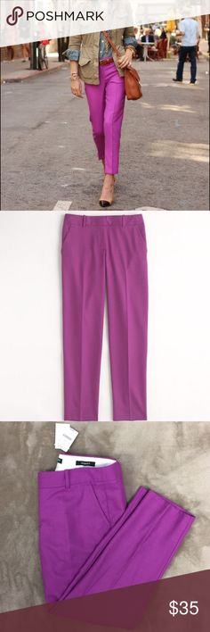 J. Crew skimmers  NWT J. Crew skimmers( made to hit above ankle) in a beautiful magenta color. Great for the Spring season. Size 6 J. Crew Pants Ankle & Cropped