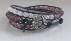 Triple wrap leather bracelet purple and clear by Lauralynnmichelle, $30.00