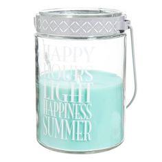 Bougie lanterne en verre bleue H 17 cm HAPPY HOURS 13,99€