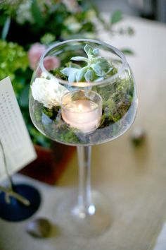 unique wedding centerpiece terrarium in a wine glass More