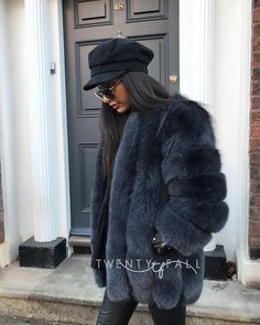 Long (70cm) fox fur coat in Charcoal Grey❤️❄️ One of our favourite styles, also comes in cropped (60cm)😻❤️ Shop now www.twentyfall.co.uk