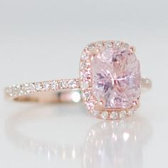 Champagne sapphire engagement ring 14k rose gold diamond ring 2.09ct cushion light lavender peach champagne sapphire #eidelprecious