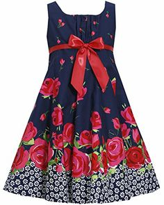 * LITTLE GIRLS 4-6X * Navy-Blue Red Bow Front Floral Border Print Fit-N-Flare Dress NV3SP, Navy, Bonnie Jean Little Girls 4-6X Special Occasion, Flower Girl Social Party Dress Bonnie Jean http://www.amazon.com/dp/B00KRXRCTC/ref=cm_sw_r_pi_dp_1GWMtb13A3BP2P2R