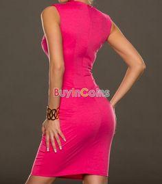 Pink Fantastic Neck New Women Summer Sexy Casual around Design Sexy Midi Dress -- BuyinCoins.com