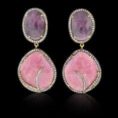 Pink, Purplish Sapphire & Diamond Earrings - JYOTI #color #happy #collection #pink #purple #multi #sapphire #diamond #tier #earring #designer #JYOTI #couture #jewelry