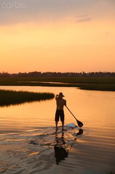A man stand up paddle boarding in the Marsh. Paddleboardexplorer.com