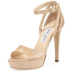 Jimmy Choo Kayden Patent Platform Sandal (12 415 ZAR) ❤ liked on Polyvore featuring shoes, sandals, heels, nude, high heel shoes, jimmy choo shoes, nude heel shoes, ankle tie sandals and open toe sandals