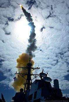 A Raytheon SM-6 launched from an Aegis guided missile destroyer. US Navy Photo