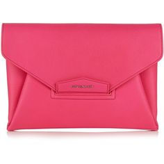 Givenchy Antigona Envelope grained-leather clutch ($1,160) ❤ liked on Polyvore featuring bags, handbags, clutches, pink, envelope clutch bag, full grain leather handbags, pink handbags, pink clutches and givenchy handbags
