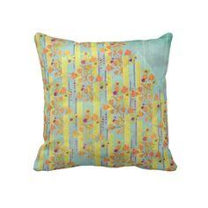 Vintage Orange & Azure Floral Pillow back
