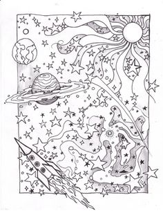 detailed space Coloring Pages | Coloring Space Page by usedfreak88