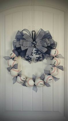 NY Yankees Inspired Custom Baseball Wreath!!  Check out this item in my Etsy shop https://www.etsy.com/listing/270888592/ny-yankees-inspired-custom-baseball