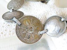 VINTAGE SILVER 1943 AUSTRALIAN WWII SHILLING & PENCE COIN BRACELET  #Chain