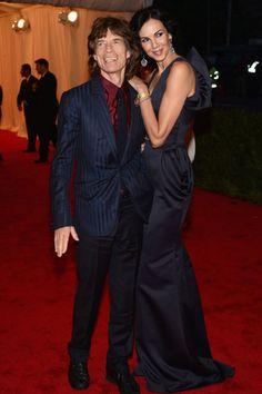 Mick Jagger with L'Wren Scott at Met Gala 2012