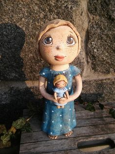 Apolenka v modrém (na objednávku) Pottery Sculpture, Clay Art, Ceramic Art, Garden Art, Disney Characters, Fictional Characters, Disney Princess, Handmade, Crafts