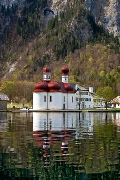 St. Bartholomä is a Catholic pilgrimage church in the Berchtesgadener Land district of Bavaria in Germany.  t named for Saint Bartholomew the Apostle (Bartholomäus in German), patron of alpine farmers and dairymen.