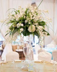 White Floral Centerpieces at this Bat Mitzvah #batmitzvah #southcarolina