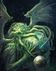 """It's well known that the great Cthulhu has a particular bond with artists of all sorts. Lovecraft's """"The Call of Cthulhu"""" it's docu. Hp Lovecraft, Lovecraft Cthulhu, Call Of Cthulhu, Art Cthulhu, Cthulhu Tattoo, O Kraken, Necronomicon Lovecraft, Yog Sothoth, Lovecraftian Horror"""