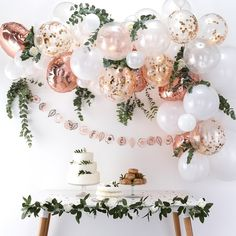 balloon arch This rose gold balloon garland arch kit will be the focal point of a baby shower, Miss to Mrs bridal shower, princess party, a tea party theme! Rose Gold Balloons, White Balloons, Confetti Balloons, Balloon Garland, Balloon Arch, Balloon Columns, Bow Garland, Metallic Balloons, Baby Balloon