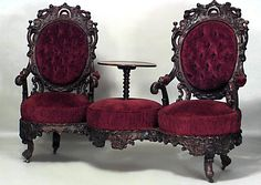 Vintage Furniture American Victorian rosewood carved double swivel seat tete a tete with table center and red velvet upholstery - American Victorian rosewood carved double swivel seat tete a tete with table center and red velvet upholstery Gothic Furniture, Unique Furniture, Rustic Furniture, Vintage Furniture, Furniture Decor, Furniture Stores, Luxury Furniture, Outdoor Furniture, Furniture Manufacturers