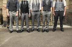 mismatched greys on the groomsmen.. I like, but. Instead of black and dark grey, make it tan or light brown :)