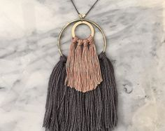No. 7 // Fiber Necklace // Tassel Necklace by wildcolumbinetextile