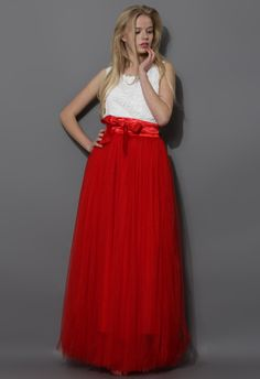 Amore Maxi Tulle Prom Skirt in Red - Tulle Skirt - Trend and Style - Retro, Indie and Unique Fashion Red Tulle Skirt, Tulle Dress, Red Maxi, Tulle Skirts, Pleated Skirt, Waist Skirt, Long Maxi Skirts, Red Skirts, Led Dress