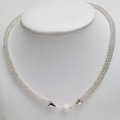 Argentium 935 silver ladies viking knit necklace on Etsy, $120.00