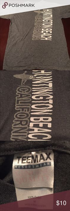 Huntington beach California gray T-shirt Medium Size medium gray Huntington beach California T-shirt Teemax Resortwear genuine quality 100% cotton size medium Teemax Resortwear Shirts Tees - Short Sleeve
