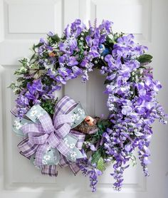 Purple Wisteria Floral Wreath Mothers Day Gift Spring and Summer Birds Twisted Oak Boutique by TwistedOakBoutique on Etsy Diy Spring Wreath, Spring Door Wreaths, Easter Wreaths, Wreaths For Front Door, Diy Wreath, Grapevine Wreath, Christmas Wreaths, Wreath Ideas, Twisted Oak