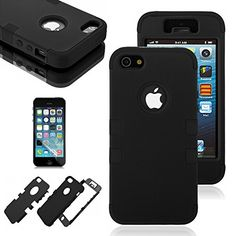 iPhone 5 case iPhone 5S case Moreyoulike Shockproof Resistant Silicone Gel Soft Case with Hard Plastic Matte Cover with Free Screen Protector Fits ATT Sprint Verizon TMobile Tuff_Black * Check this awesome product by going to the link at the image.