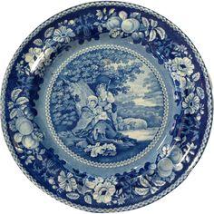 Staffordshire Blue Transferware Plate c.1820