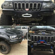 Made of steel plate and mounts to your vehicle using eight bolts. The hidden winch mount is custom made and test-fit on our own WJ before shipping 2003 Jeep Grand Cherokee, Lifted Jeep Cherokee, Cherokee 4x4, Grand Cherokee Overland, Jeep Zj, Jeep Xj Mods, Jeep Wrangler Lifted, Jeep Truck, Lifted Jeeps