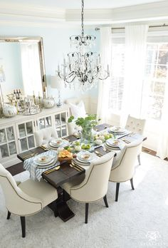 2017 Fall Home Tour With Yellow And Orange Leaves Dining Room Chandelier
