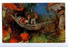 150373-Smoking-GNOME-Hammock-MUSHROOM-FROG-by-SCHLITT-vintage