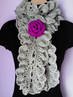 CROCHET SCARF/ NECKWARMER with Crochet Flower Brooch / Ruffle Scarf.
