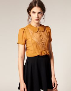 vintage style, mustard blouse, collar, fashion, outfit, black skirt, autumn, spring
