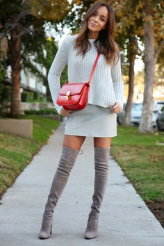 casual over the knee boots with sweater and skirt bmodish
