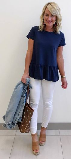 #spring #outfits blue top, white jeans, platforms