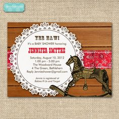 Printable Western Baby Shower Invitations