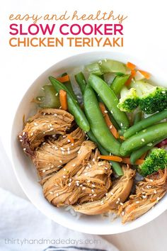 Easy and Healthy Slow Cooker Chicken Teriyaki - it's healthy, it's simple, it's delicious and your family will love it! www.thirtyhandmadedays.com #slowcookerrecipes #crockpotrecipes #dinnerrecipes #easyrecipe