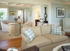 Neutral and aqua living room; Trisha Troutz: Patrick Ahearn, AIA