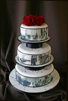 Photo-Cake: A great wedding cake design idea that's popping up at more and more weddings these days is the multi-tiered cake with edible black and white photos of the bride and groom. I would love this idea to add all our kids pics too, it will make them part of our big day :)